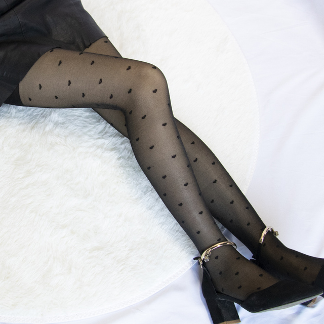 Women's Tights Classic Polka Dot Silk Stockings.Ladies Vintage Faux Tattoo Round Dot Pantyhose Female Hosiery 2