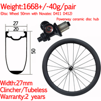Width 27mm carbon road bike disc wheelset 50mm clincher tubeless ceramic gravel wheels front 12X100 rear 12x142