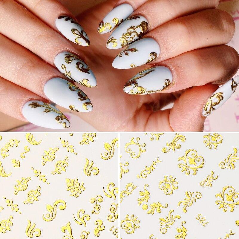 3D стикер для ногтей, Золотая бронзовая Серебряная лента, тисненый цветок, звезда, луна, дизайн, клейкая передача, слайдеры, украшение, DIY инст...