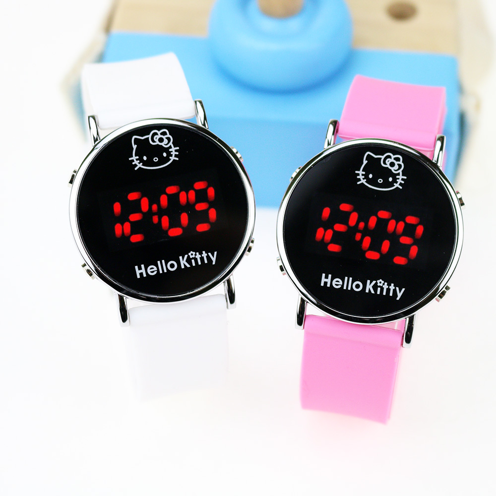Cartoon Hello Kitty Children Watch LED Display Girls Kids Wrist Watches Kids Clock Cute Cat Silicone Relogio Birthday Gift
