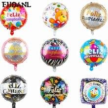 10 pçs 18 Polegada forma redonda espanhol feliz cumpleanos feliz feliz feliz aniversário decoração mylar folha de hélio balões festa suprimentos