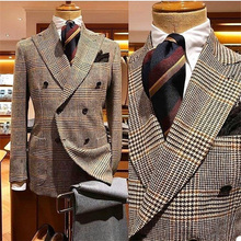 Costume Homme Mariage Handsome Houndstooth Slim Fit Tweed Blazers Wool Tuxedos Peak Lapel Double Breasted Men Suits For Wedding