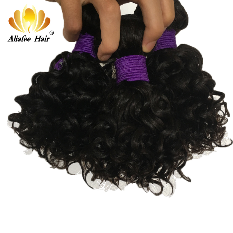 AliAfee Hair Brazilian Bouncy Curly Hair Bundles Human Hair Weave 8-10 Inches 3/4PCS Remy Hair Extensions Natural Color