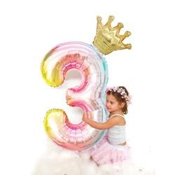 Balões de folha de números gradiente, 1 peça de 40 polegadas, grandes balões de folha de 0, 1, 2, 3, 4, 5, 6, 7, 8, 9 anos velho bebê feliz aniversário festa de decoração grandes balões
