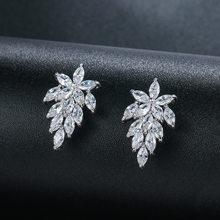 WEIMANJINGDIAN Shiny Marquise Blatt Zirkonia CZ Kristall Stud Ohrringe für Frauen oder Hochzeit Braut Party Tragen