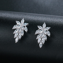 WEIMANJINGDIAN Shiny Marquise Leaf Cubic Zirconia CZ Crystal Stud Earrings for Women or Wedding Bride Party Wearing