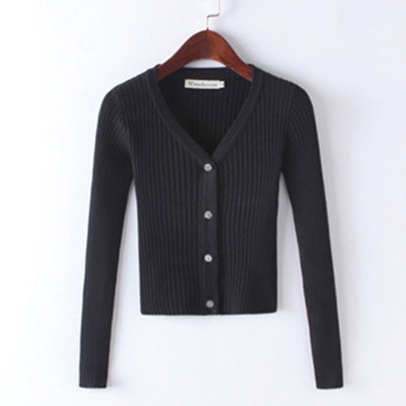 QRWR Spring Autumn Women Sweater Casual Solid Color Knitted Cardigan V Neck Long Sleeve Single Breasted Slim Fit Cardigan Women 4