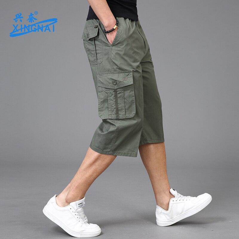 Plus Size Men Shorts Zipper Summer Cotton  Loose Shorts Men Work Thin Pants Sport Pockets Modis Knee Length Sweatpants XX60MS