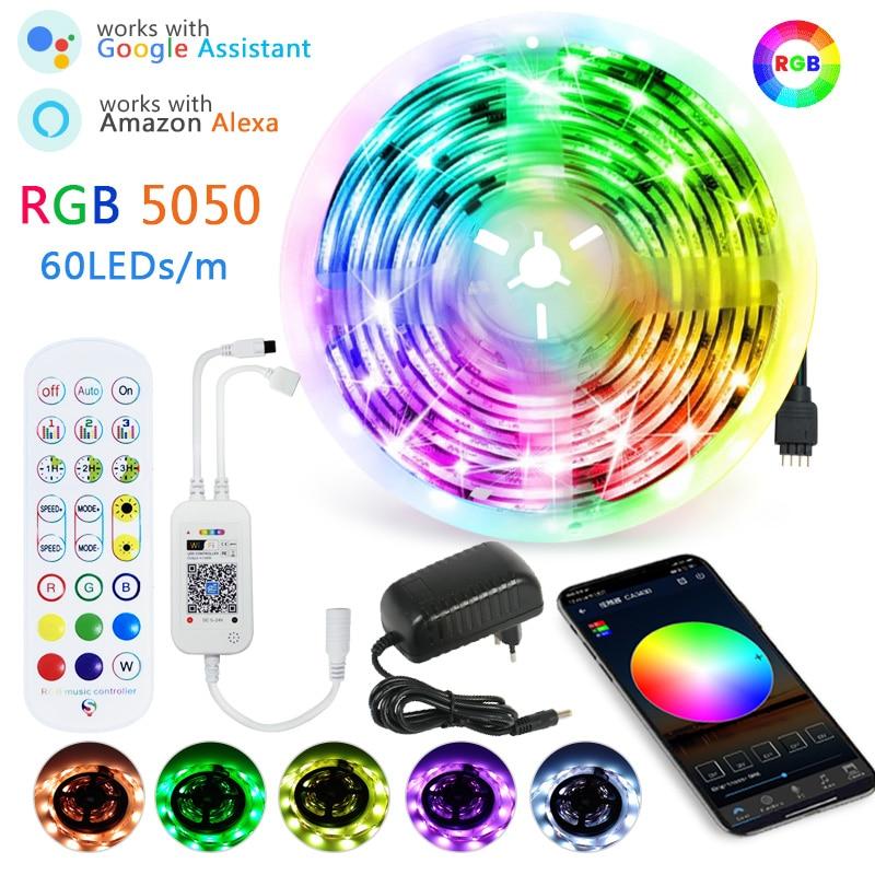 5 м 10 м 15 м Светодиодные ленты светильник RGB водить 60leds 5050 Luces светодиодный светильник полосы DC 12V гибкая лента IR WiFi Bluetooth Contoller + адаптер ЕС