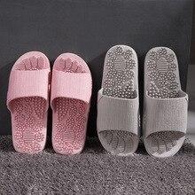 Мужские летние тапочки; коллекция года; домашняя Нескользящая Массажная обувь; унисекс; однотонные тапочки с мягкой подошвой; домашние сандалии; мужские массажные тапочки