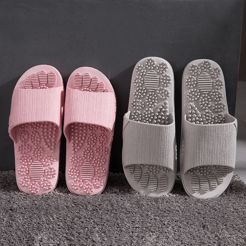 Summer Slippers Men 2019 Indoor Anti-slip Massage Shoes Unisex Solid Soft Bottom Couple Slippers Home Sandals Men Massage Point