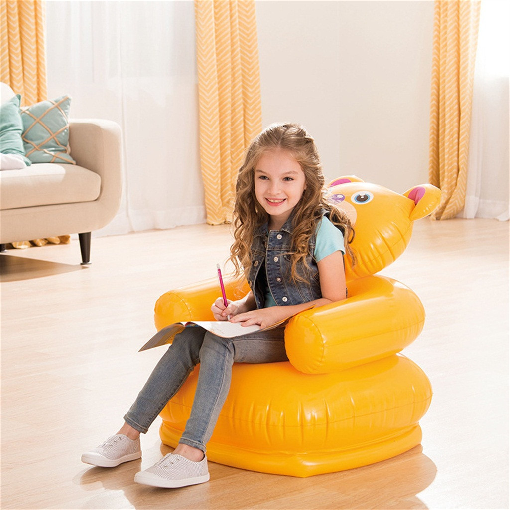 Cartoon Animal Inflatable Sofa Cute Portable Children Seat Tiger Bear For Kid 3-8 Years Old Lovely Kids' PVC Chairs Baby Seats