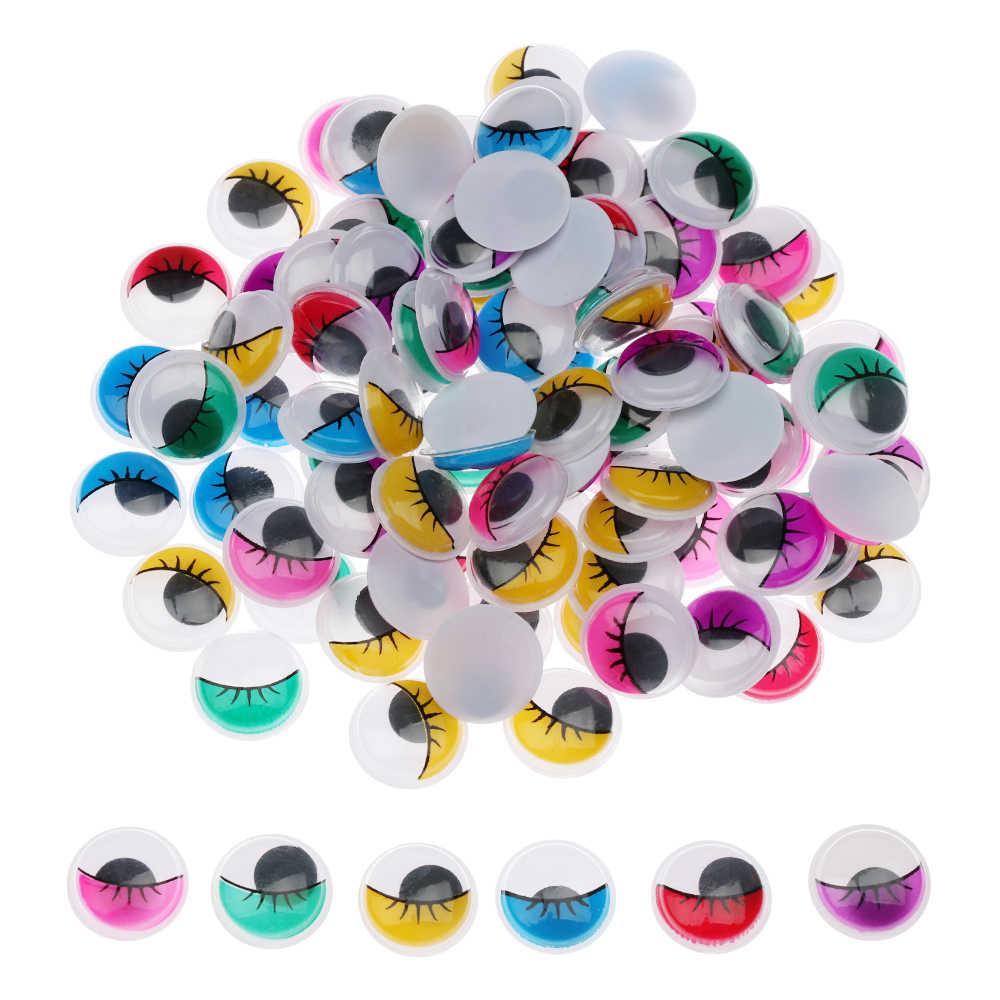 100 יח'\שקית 3D בובות עיני פלסטיק מנענע צבעוני נע עיני DIY בובות אבזרים בעבודת יד ממולא בעלי חיים בפלאש צעצוע עיניים