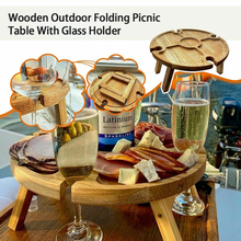 Wine Table With Folding Desktop Mini Wooden Picnic Table Easy To Carry Wine Rack Dropshipping Hiking Camping Garden Outdoor