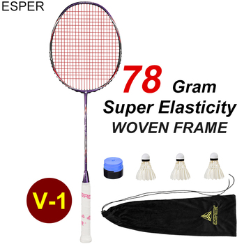 Esper 78Gram V1 Badminton Racket Professional 5U High Quality Carbon Fiber Racquet WOVEN Frame Superelasticity Shaft with String