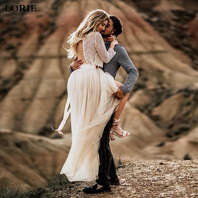 LORIE Boho Wedding Dress 2 Pieces Vestidos De Novia A Line Lace Sexy Bridal  Dresses Elegant 3/4 Sleeve Wedding Gowns