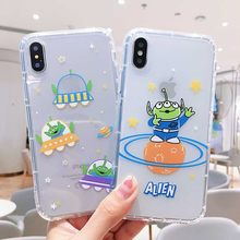 Cartoon Alien three-eyed transparent soft tpu phone case for iphone 11promax 6 6s 7 8plus cover for iphonexr x xs max(China)