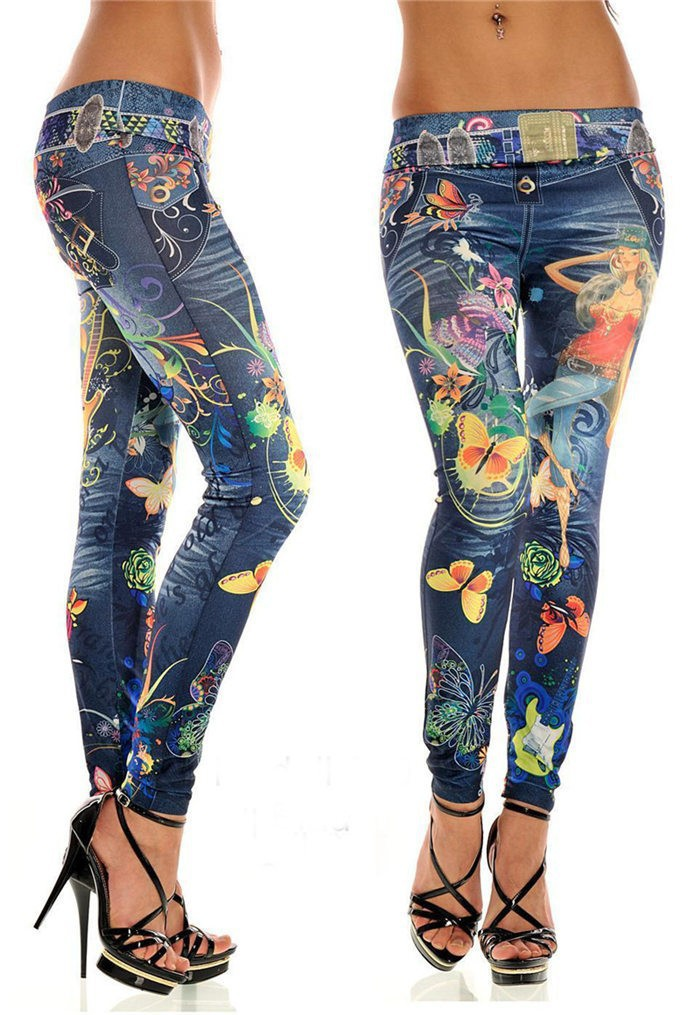 Fashionable New Lady Seamless Imitation Cowboy Color Printing High Waist Skinny Blue Jean Denim Leggings Stretchy Jeggings Pant