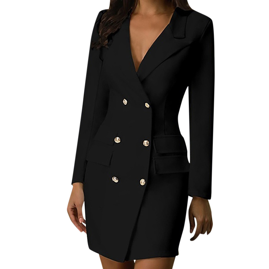 Breasted Gold Button Front Black Military Style Women Fashion Long Sleeve Dress Female High Street Elegant Shirt Dress #L25