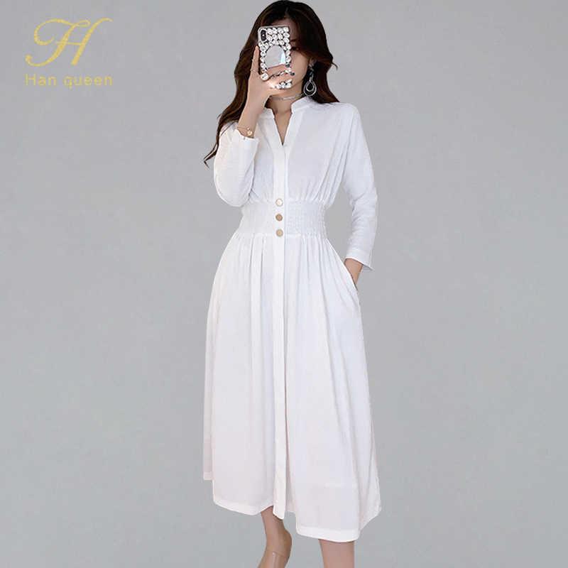 H Han Queen taille élastique une ligne balançoire robe femmes 2019 automne solide blanc manches chauve-souris robes décontractées OL tenue de bureau Vestidos