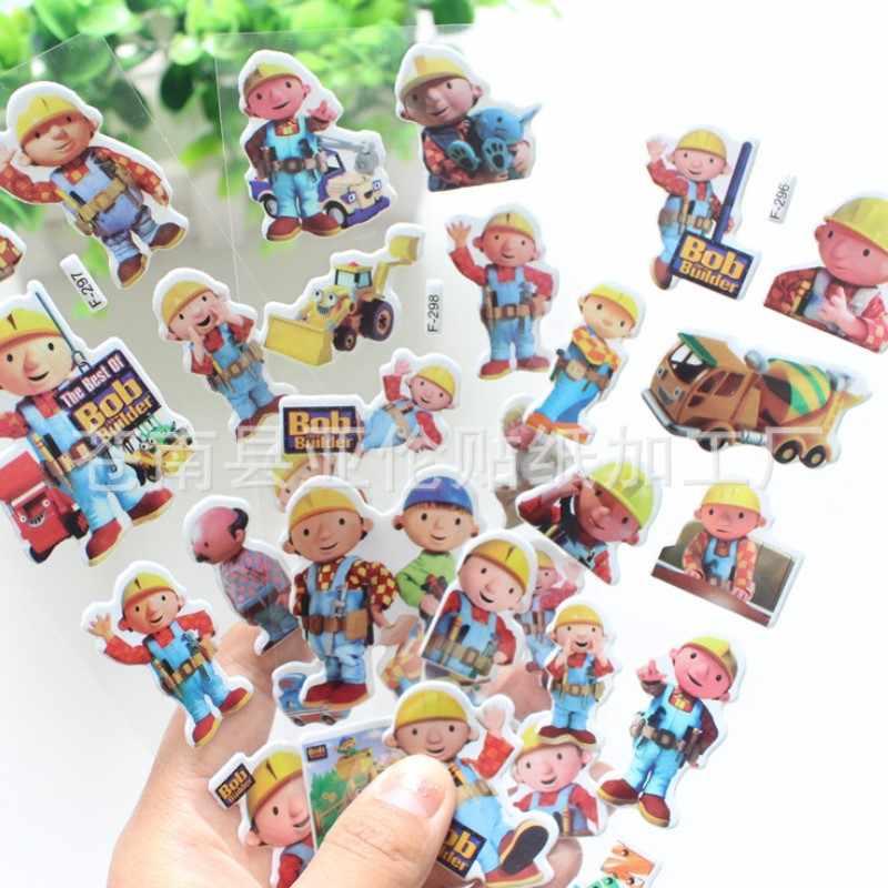6 개/몫 17cm 만화 애니메이션 밥 어린이를위한 빌더 버블 스티커 pvc 교육 컬렉션 장난감