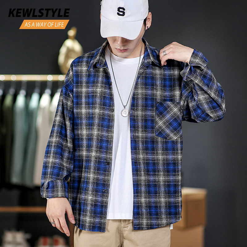 Korean Style Men Fashion Long Sleeve Shirt Plaid Dress Male Clothing 5xl Streetwear 2019 Autumn Casual Blue Yellow Shirts CS69