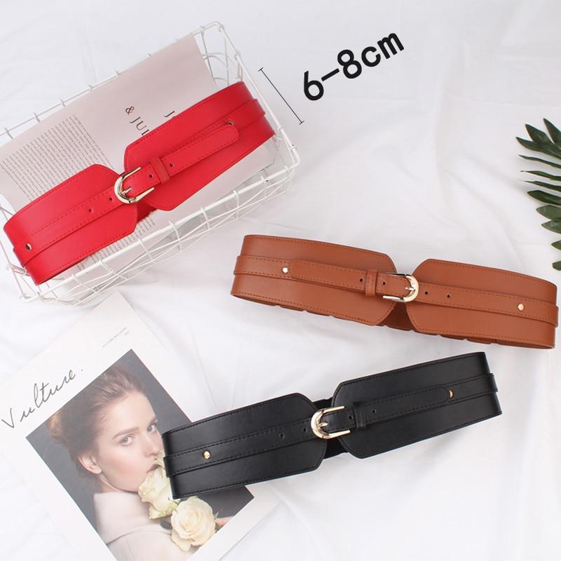 Luxury ladies wide belt elastic vintage buckle leather wide fashion wild pin buckle women's belt waist seal belt x208 6