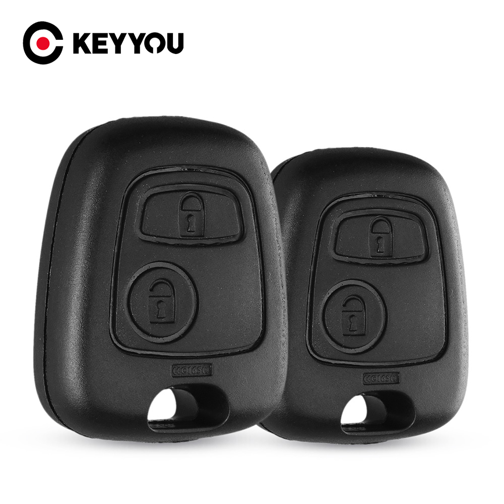 KEYYOU 10PCS For Peugeot 107 206 207 306 307 407 For Citroen Replacement 2 Button Remote Blank Cover Case Durable Car Key Case image