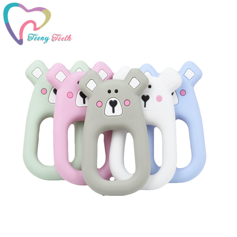 10 PCS Baby Cartoon Silicone Teethers DIY Animal Bear Teether Rodent Chew Kids Toys Teething Beads Ring Gift Toddler Toy