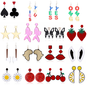 YAOLOGE Big Drop Earrings For Women Statement Acrylic Fruit Letters Exaggeration Funny Fashion Earrings 2020 Jewelry Wholesale
