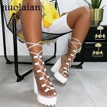 2019 New Peep Toe Boots Woman PVC Platform Boot Party Weddin