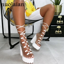 2019 New Peep Toe Boots Woman PVC Platform Boot Party Wedding Ankle Boots Women