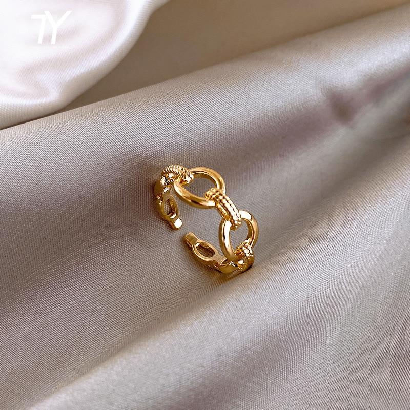 Minimalistischen Design Gefühl Kette Schließe Gold Offene Ringe Für Frau Mode Koreanische Finger Schmuck Hochzeit Party Ungewöhnliche Mädchen Ring