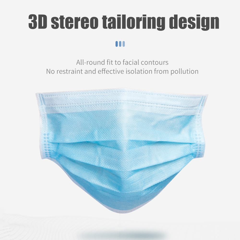 50Pcs Blue Disposable 3-Layer Thickened Nonwovens Face Mask Anti Fog And Haze Dustproof Health Care Earloops Mask Mouth Masks