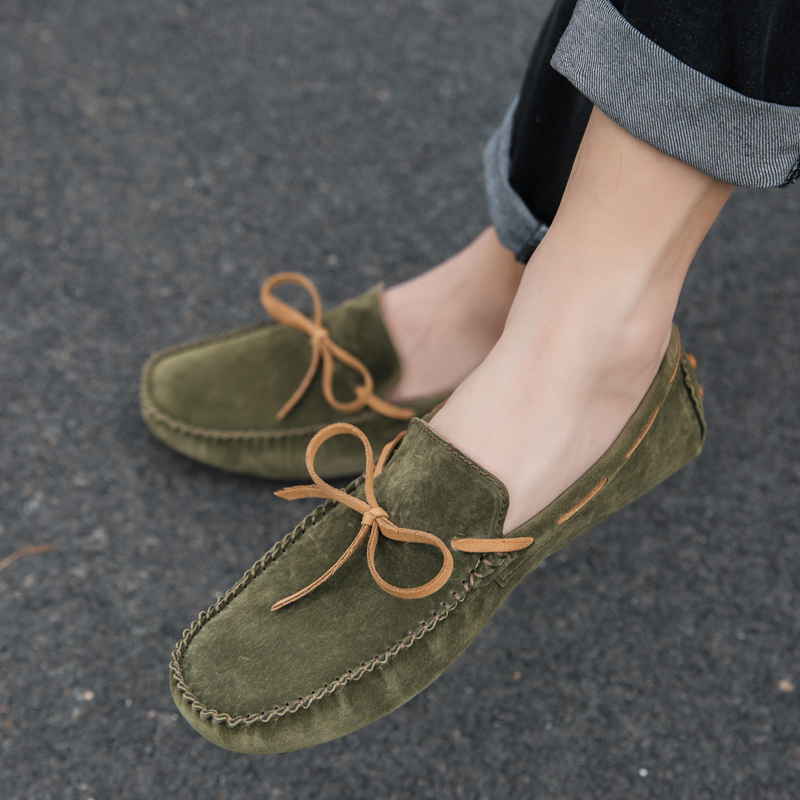 Handmade Suede Leather Mens Shoes Casual Luxury Brand Men Loafers Breathable Driving Shoes Slip on Moccasins Men Big Size 39-46