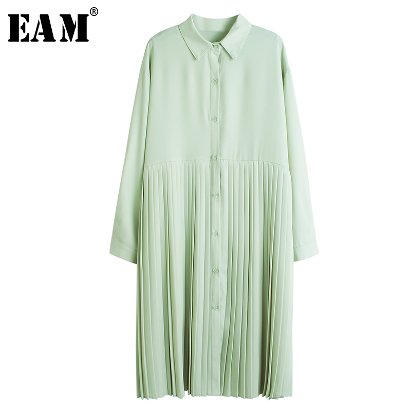 [EAM] Women Green Pleated Split Temperament Shirt Dress New Lapel Long Sleeve Loose Fit Fashion Tide Spring Autumn 2020 1N229