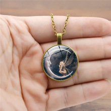 1PC Fashion Necklaces for women Men statement moon angel Glass top necklace Vintage Round Pendant Necklace