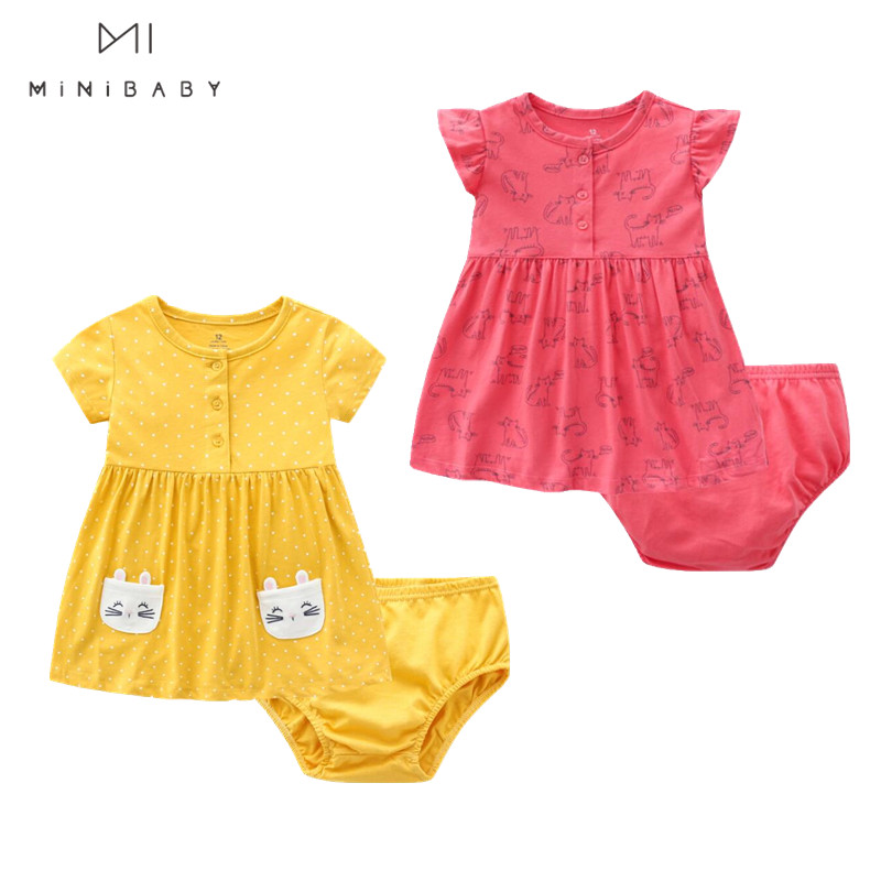 Newborn Baby Girls Clothing Summer Cotton O-neck Pure Color Cartoon Pattern Baby Outerwear Dress Cute Baby Girl Birthday Outfit