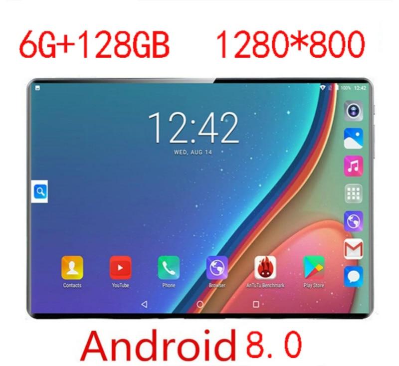 2.5D Glass 6G RAM+128GB ROM 10.1 Inch 4G Dual Camera SIM Tablet Pc Android 8.0 Ten Core Tabletas PC 5MP GPS WIFI Bluetooth