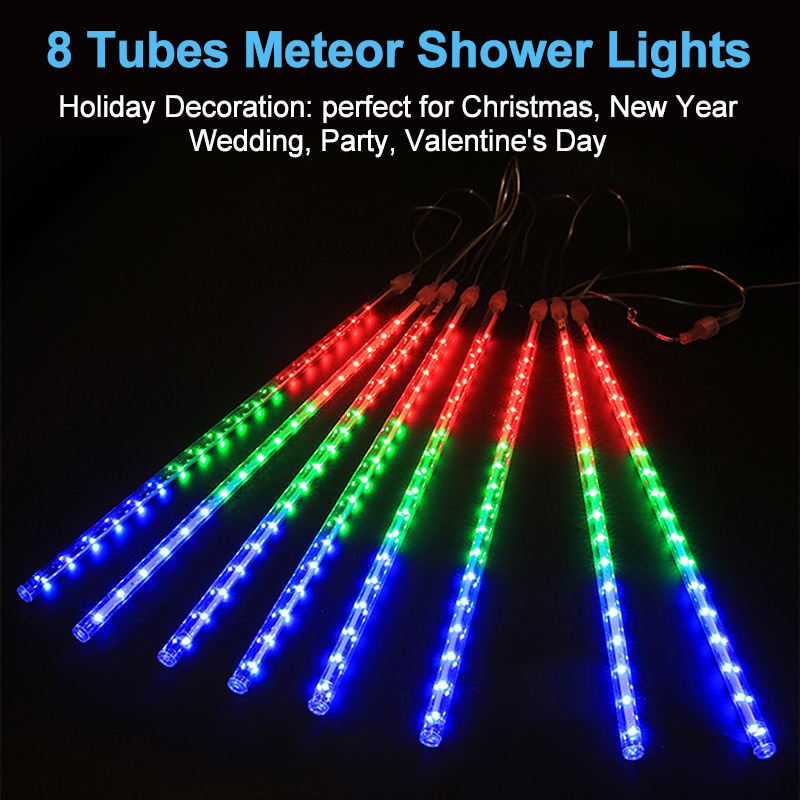 Image 2 - 8 Tube Christmas Fairy Lights Led String Lights Meteor Shower Rain Light Outdoor Decoration Street Garland Halloween Party Lamp-in LED String from Lights & Lighting on