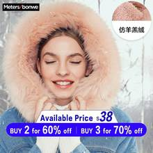 Metersbonwe 2019 Thicke Warm Colorful Fur collar Hooded Winter Warm Snow cowboy Padded Coat Female(China)