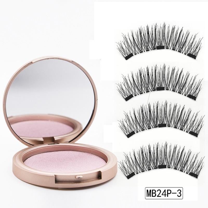 MB 3 Magnetic Eyelashes Natural Long Magneti Mink Eyelashes Set Hand Made 3D False Eye lashes tweezers faux cils magnetique 3