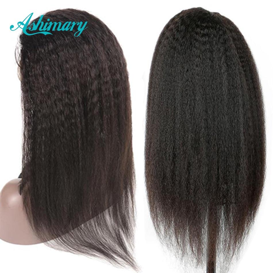 Wig Remy Lace Frontal Brazilian-Hair Straight Pre-Plucked Kinky Black Women 150%Density