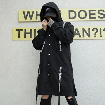 Men Long Jacket Ribbon Hooded Trench Coat Male Streetwear Hip Hop Gothic Loose Casual Windbreaker Jacket Overcoat Outerwear