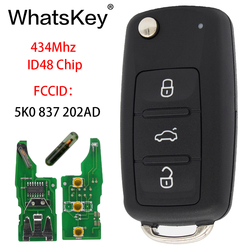 WhatsKey 3 Button Remote 434Mhz ID48 Chip Car Key For Volkswagen VW Caddy Beetle Jetta Eos Golf 5K0 837 202 AD Hella 5K0837202AD