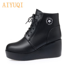 2019 Latest Genuine Leather Women Winter Boots Platform High-heeled Muffin Bottom Fashioned wedges with womens snow boots