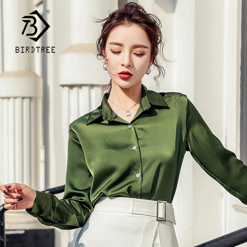 Elegant Women Turn-Down Collar Office Lady Long Sleeve Blouse Casual Shirt Top 2020 Spring T01722M