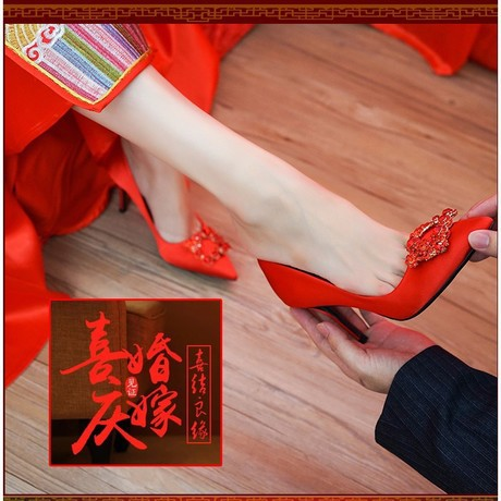 Wedding Shoes Women's 2020 New Style Spring And Autumn Chinese Style Crystal Shoes Toast High Heel Shoes Red Marriage Shoe Brida