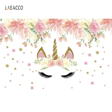 Laeacco Cartoon Flowers Unicorn Baby Newborn Party Photography Backdrops Customized Photographic Backgrounds For Photo Studio