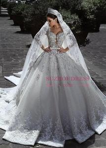 Image 4 - Dubai vestido de boda de lujo con cuentas, manga larga, cuello en V, vestido de baile, lazo para vestido de novia, apliques, vestido de novia con cinturón
